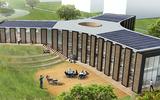 Ook in het ontwerp van het Biosintrum waren de zonnepanelen al onderdeel van het plan.
