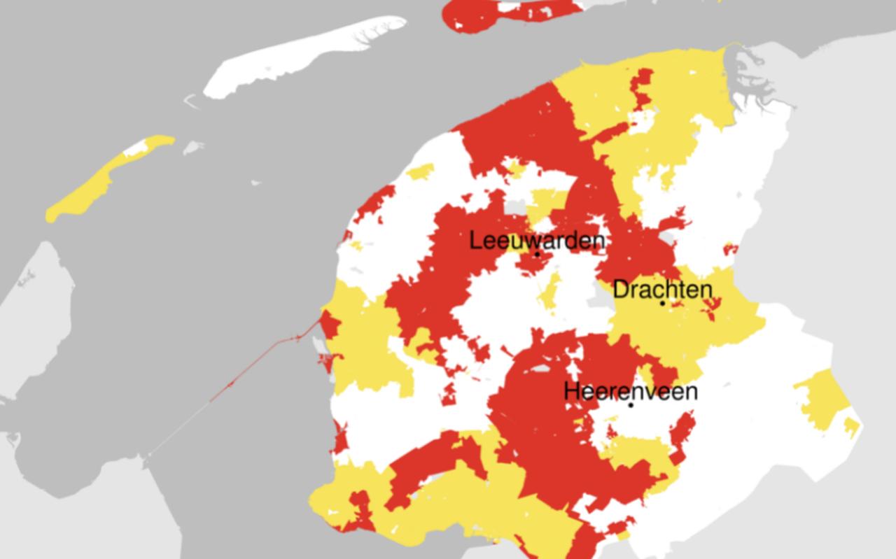 Kaart van Liander van 10 juni over beschikbaarheid transportcapaciteit ( rood helemaal niet, geel beperkt, wit geen probleem).